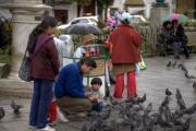 La Paz, Bolivien: eine Familie füttert Tauben