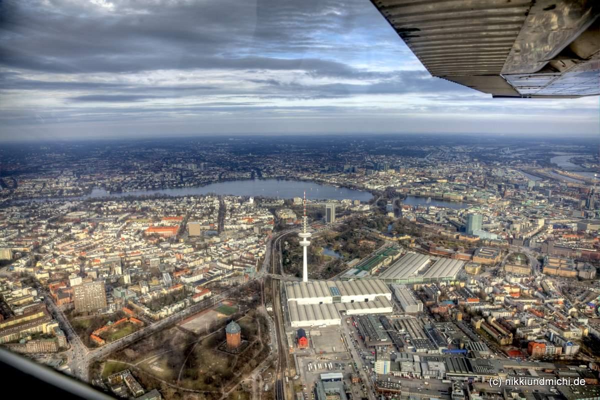 Alster von oben - Flug über Hamburg