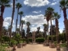 Hübscher Palmengarten mit einer großen Statue in Memphis, der Hauptstadt des alten Ägypten. Foto: www.nikkiundmichi.de