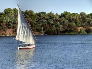 Eine Feluke segelt auf dem Nil bei Assuan. Foto: www.nikkiundmichi.de