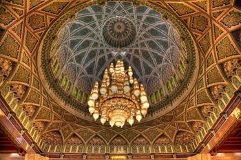 Kronleuchter der Sultan Qabus Moschee (Maskat, Oman)  in HDR.