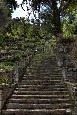 Die Treppe auf der Insel Isla del Sol.