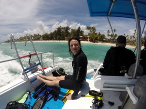Nikki nach dem Tauchgang in Punta Cana