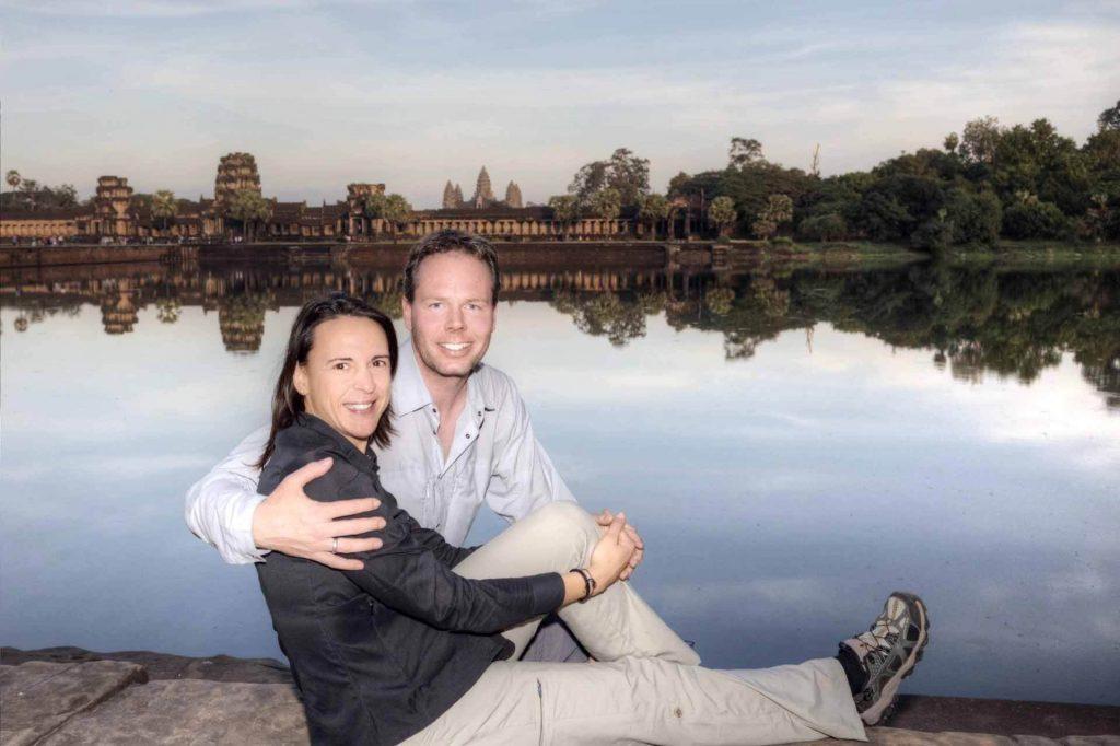 Ein letztes Erinnerungsfoto vor Angkor Wat. Die Tempelanlage hat uns wirklich fasziniert.