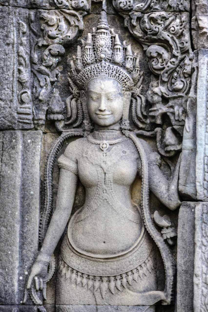 Fein gearbeitetes Relief in Angkor Thom